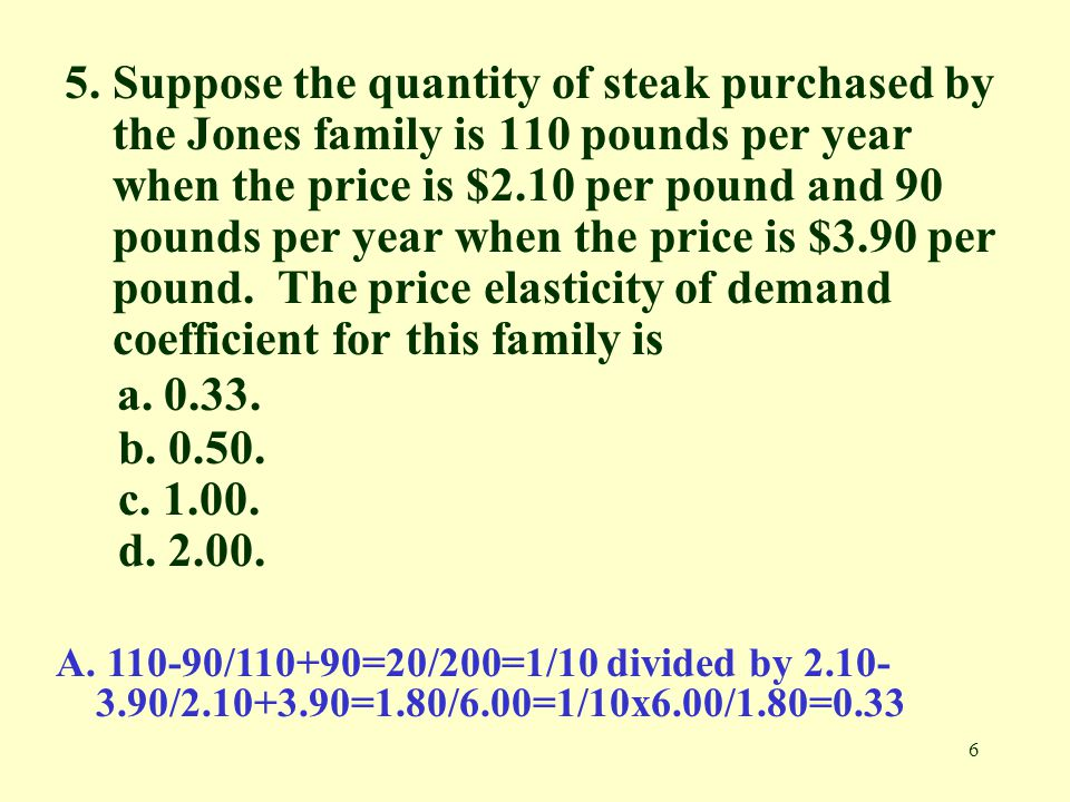 5. Suppose the quantity of steak purchased by