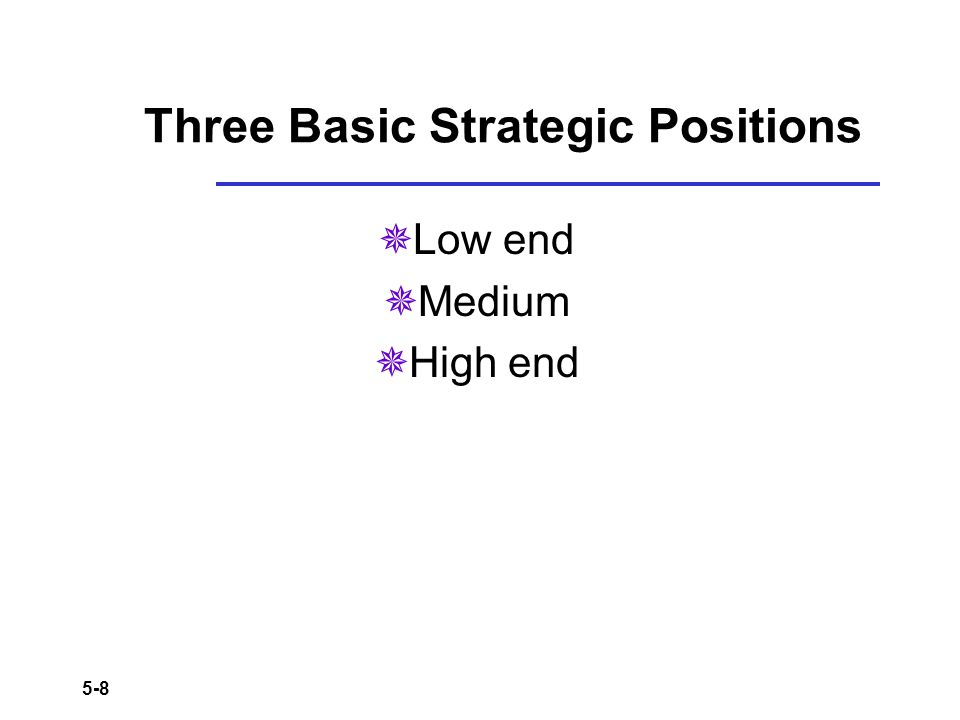 Three Basic Strategic Positions