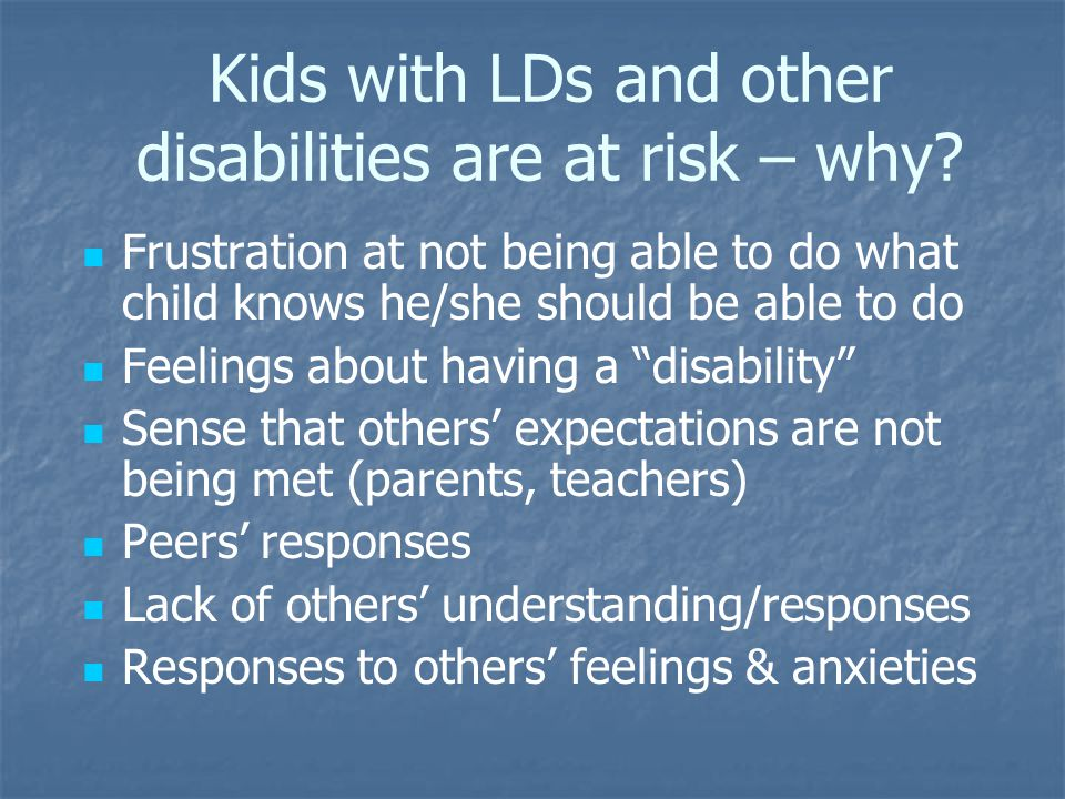 Kids with LDs and other disabilities are at risk – why