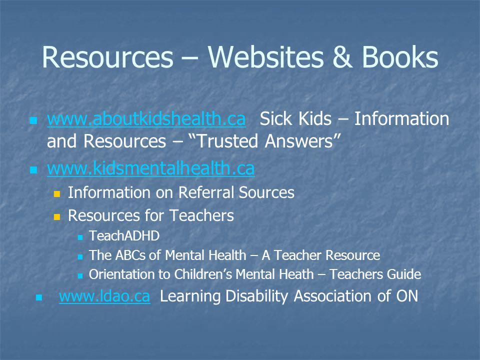 Resources – Websites & Books