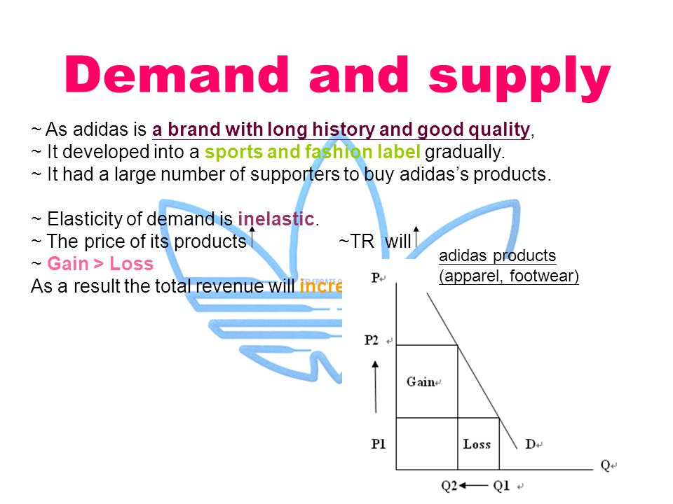 Demand and supply ~ As adidas is a brand with long history and good quality, ~ It developed into a sports and fashion label gradually.