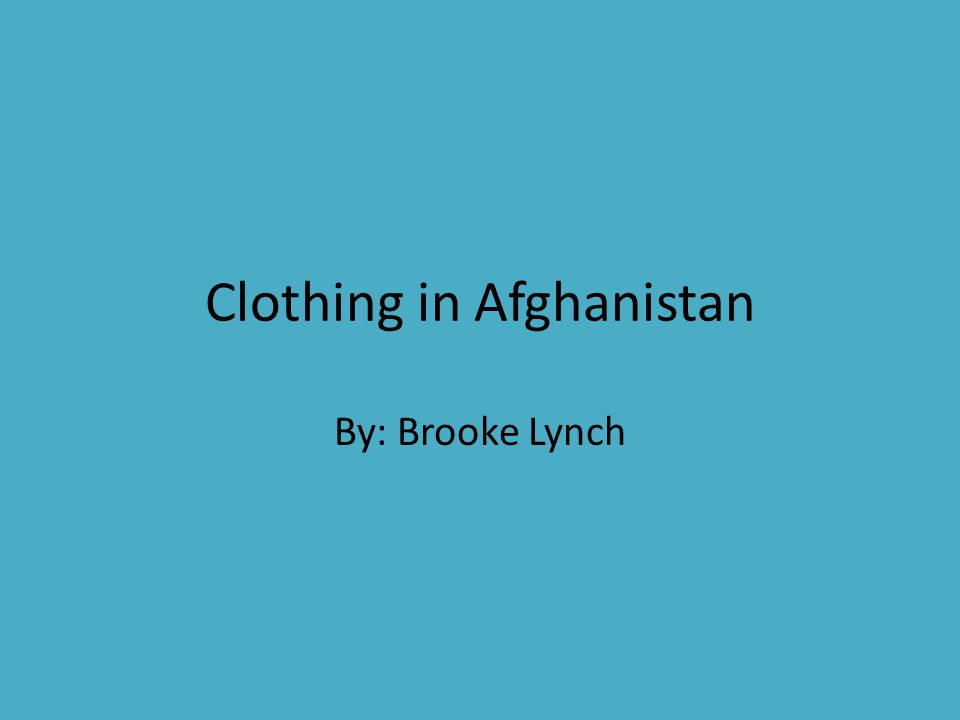 Clothing in Afghanistan