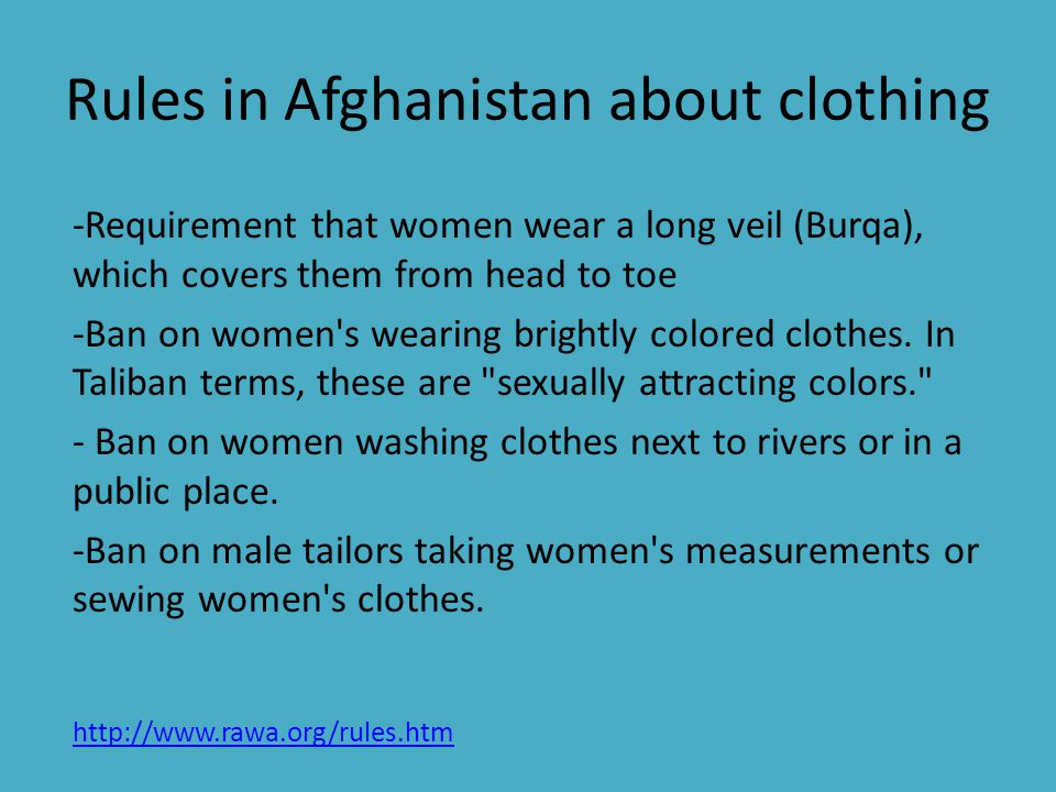 Rules in Afghanistan about clothing