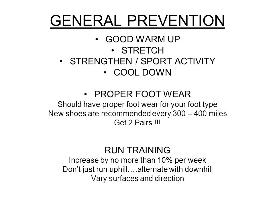 GENERAL PREVENTION GOOD WARM UP STRETCH STRENGTHEN / SPORT ACTIVITY