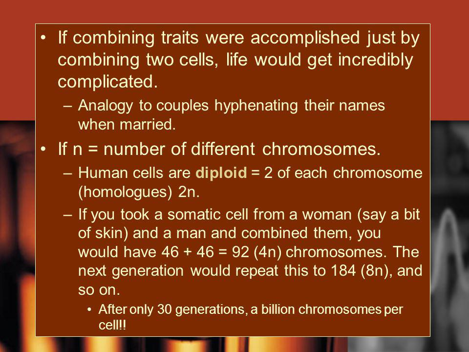 If n = number of different chromosomes.