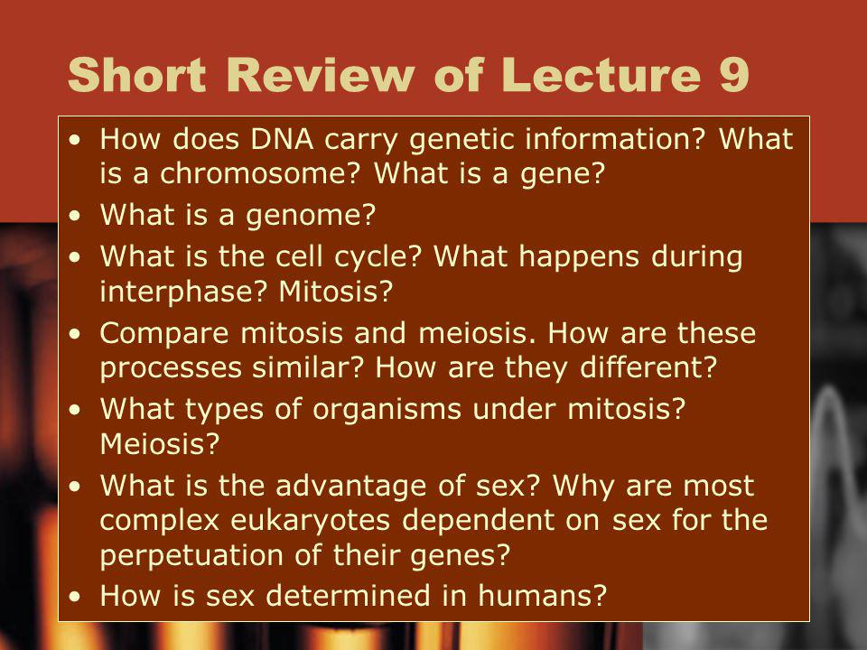 Short Review of Lecture 9