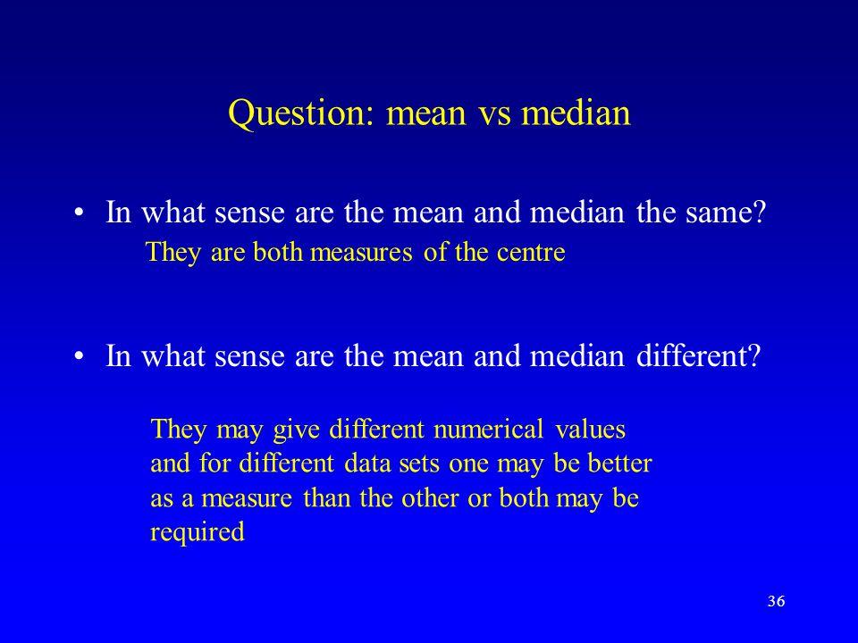 Question: mean vs median