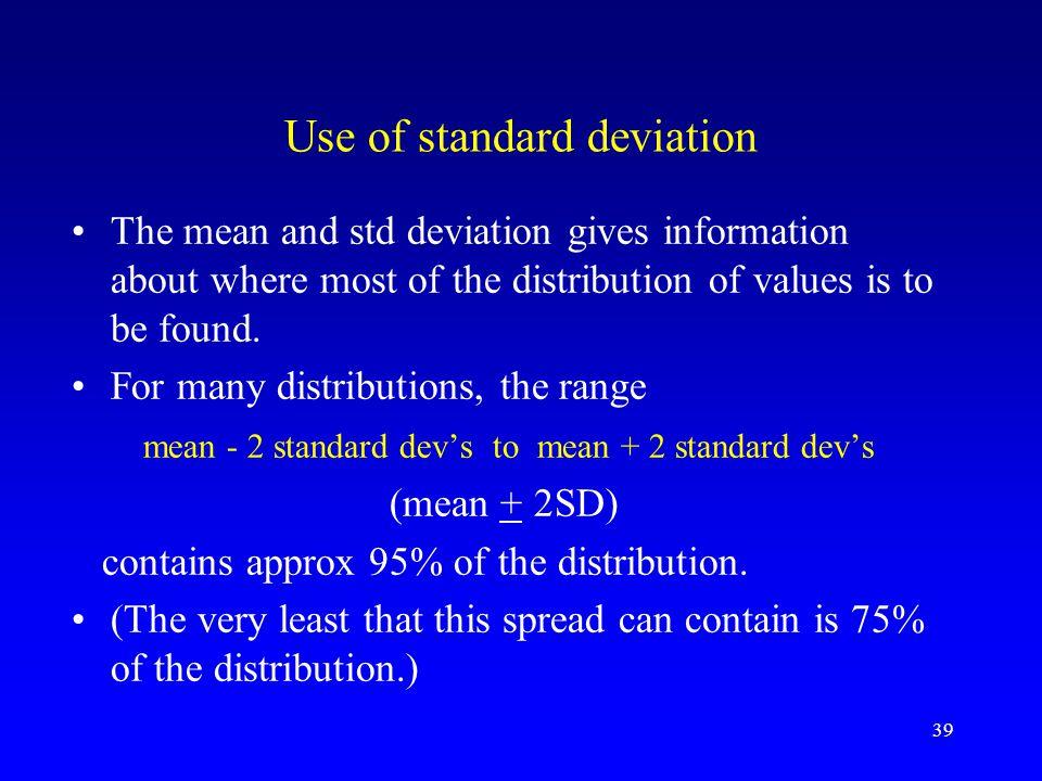 Use of standard deviation