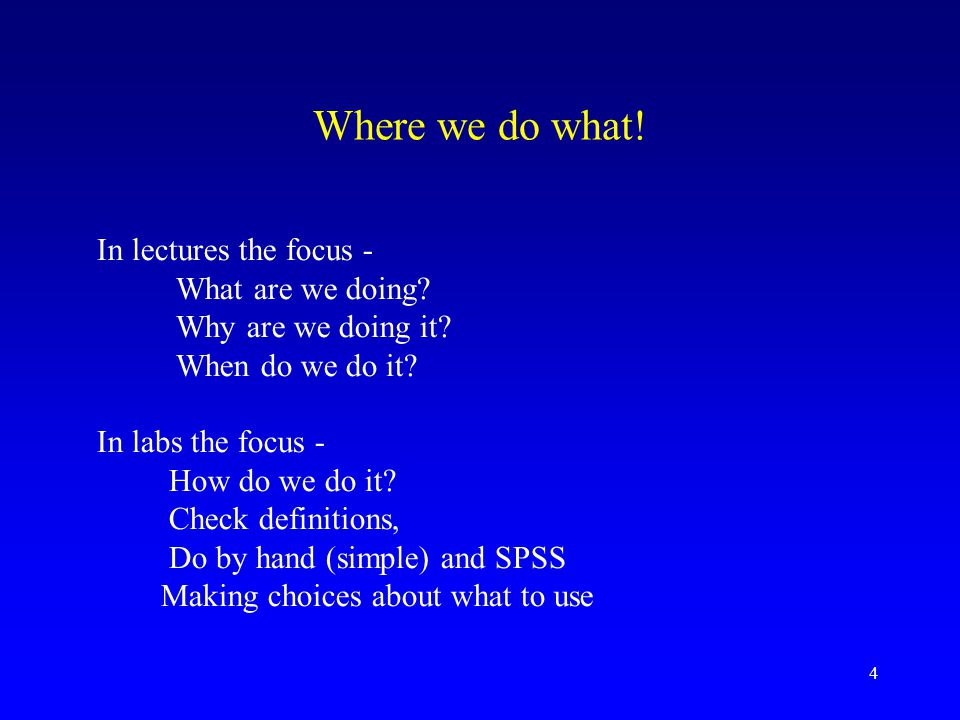 Where we do what! In lectures the focus - What are we doing