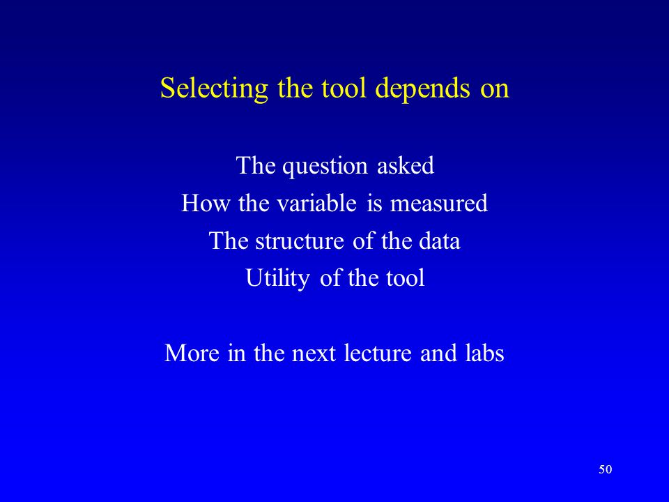 Selecting the tool depends on