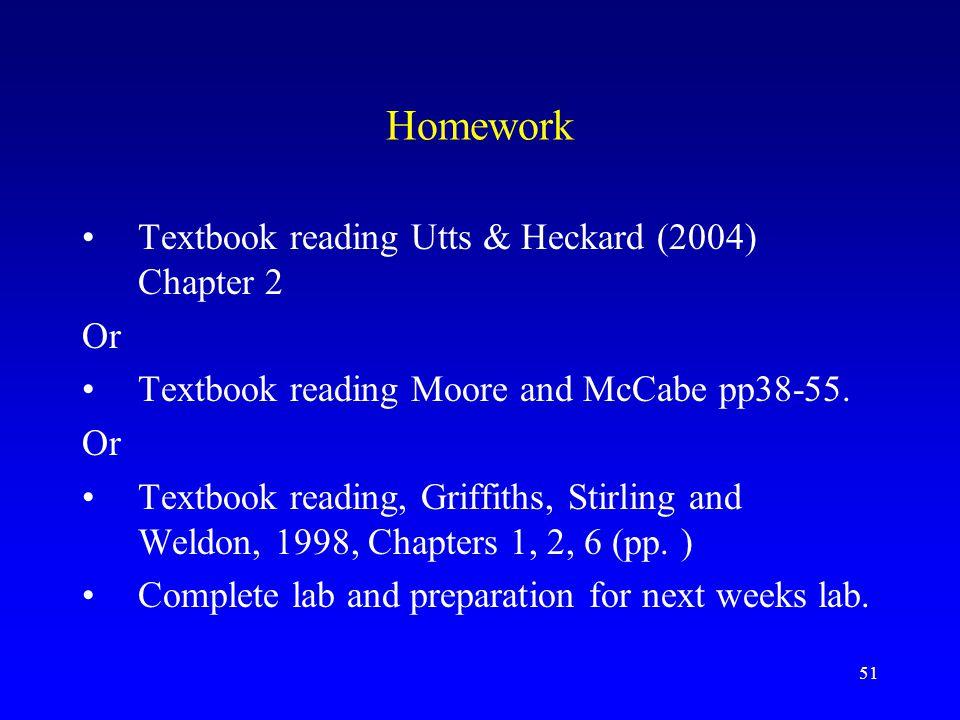 Homework Textbook reading Utts & Heckard (2004) Chapter 2 Or