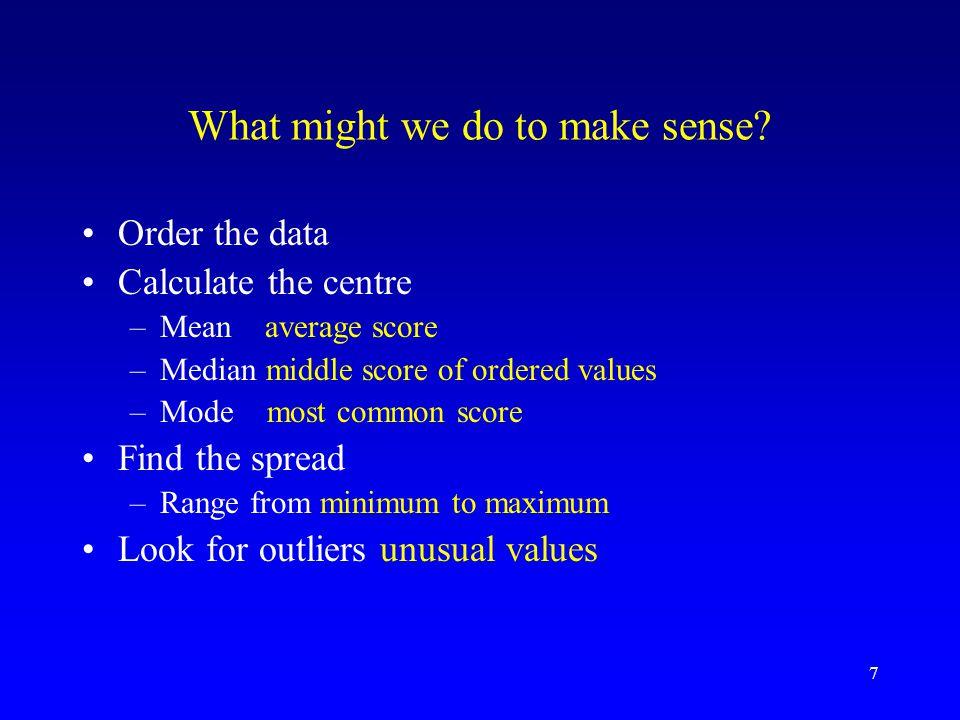 What might we do to make sense