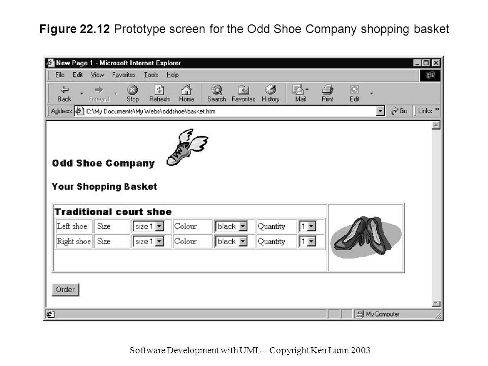 Figure 22.12 Prototype screen for the Odd Shoe Company shopping basket