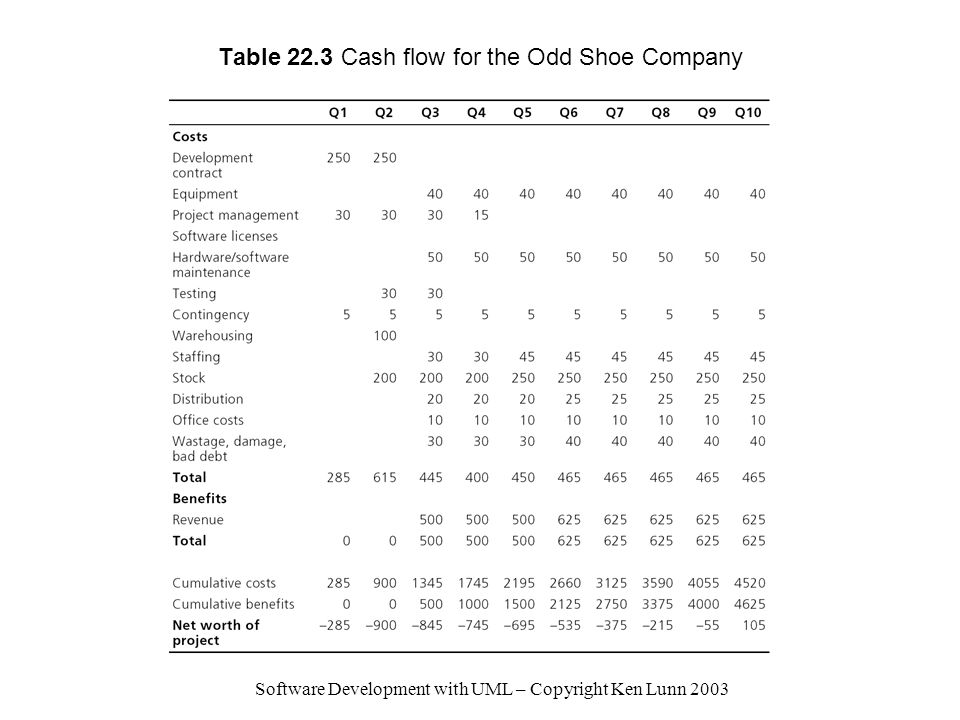 Table 22.3 Cash flow for the Odd Shoe Company