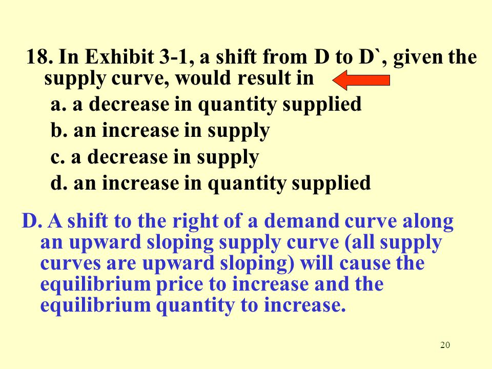 18. In Exhibit 3-1, a shift from D to D`, given the supply curve, would result in