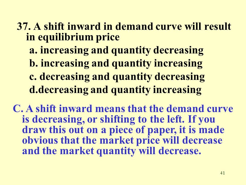 37. A shift inward in demand curve will result in equilibrium price