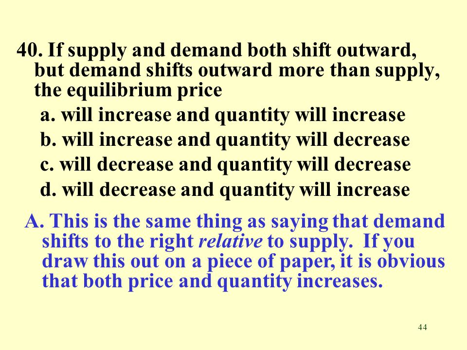 40. If supply and demand both shift outward, but demand shifts outward more than supply, the equilibrium price