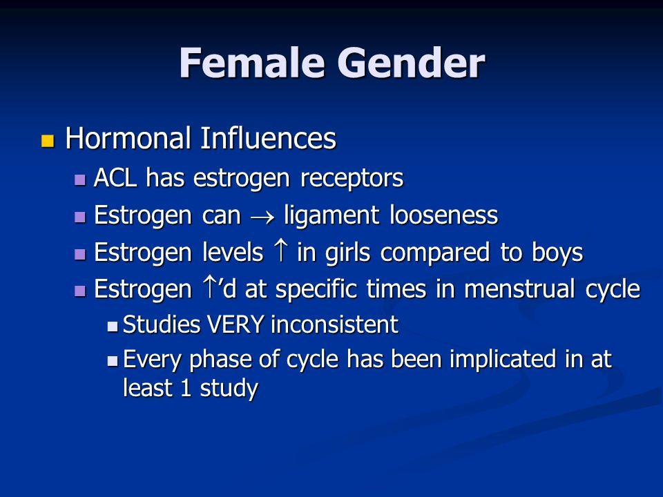 Female Gender Hormonal Influences ACL has estrogen receptors