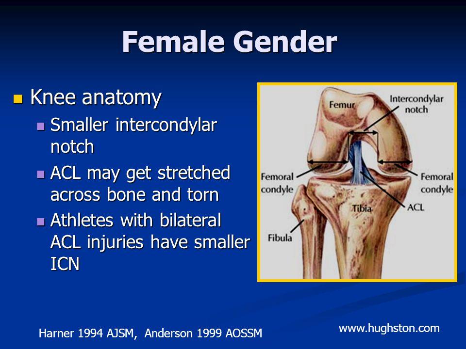 Female Gender Knee anatomy Smaller intercondylar notch