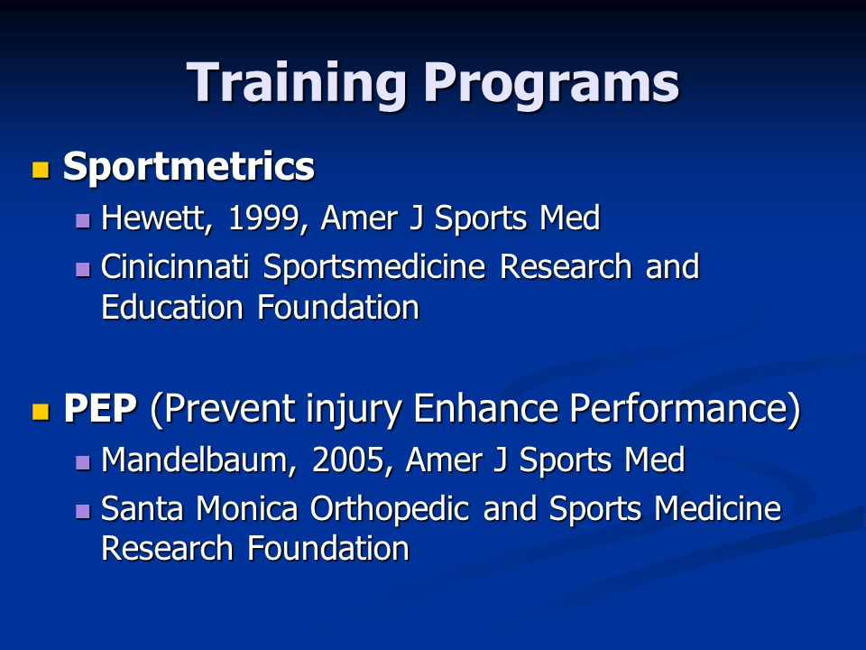 Training Programs Sportmetrics