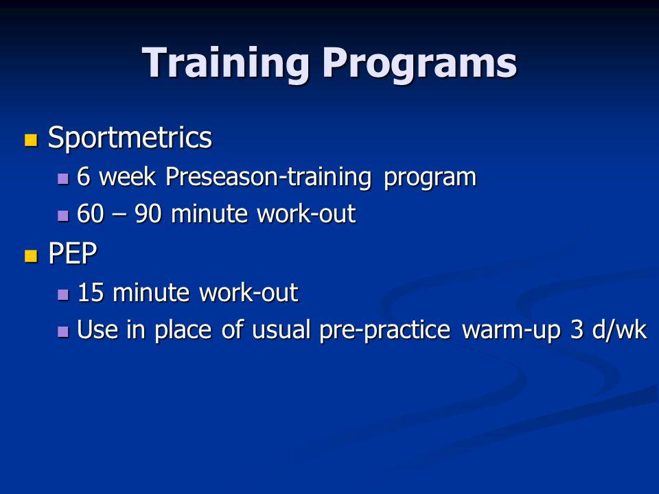 Training Programs Sportmetrics PEP 6 week Preseason-training program