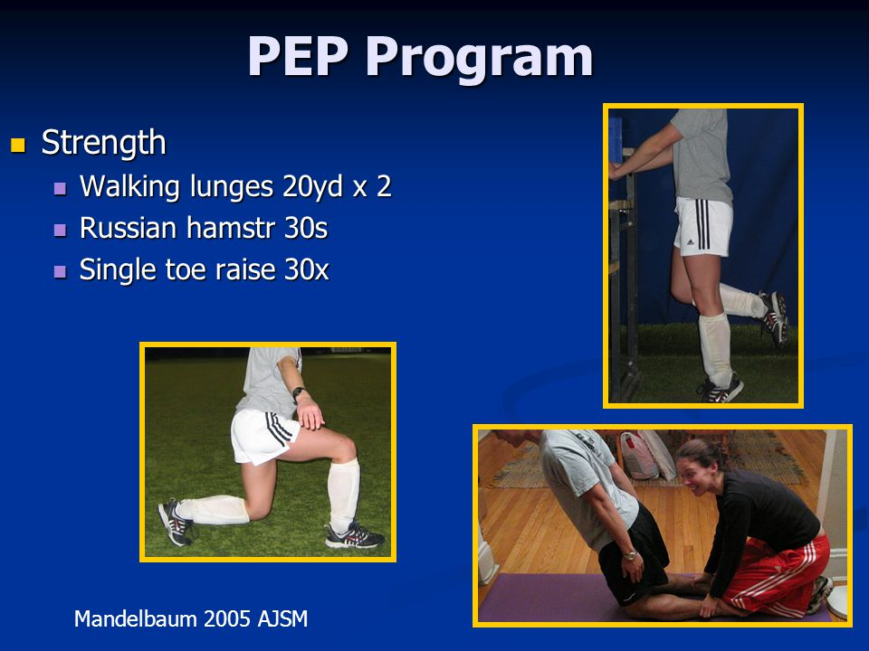 PEP Program Strength Walking lunges 20yd x 2 Russian hamstr 30s