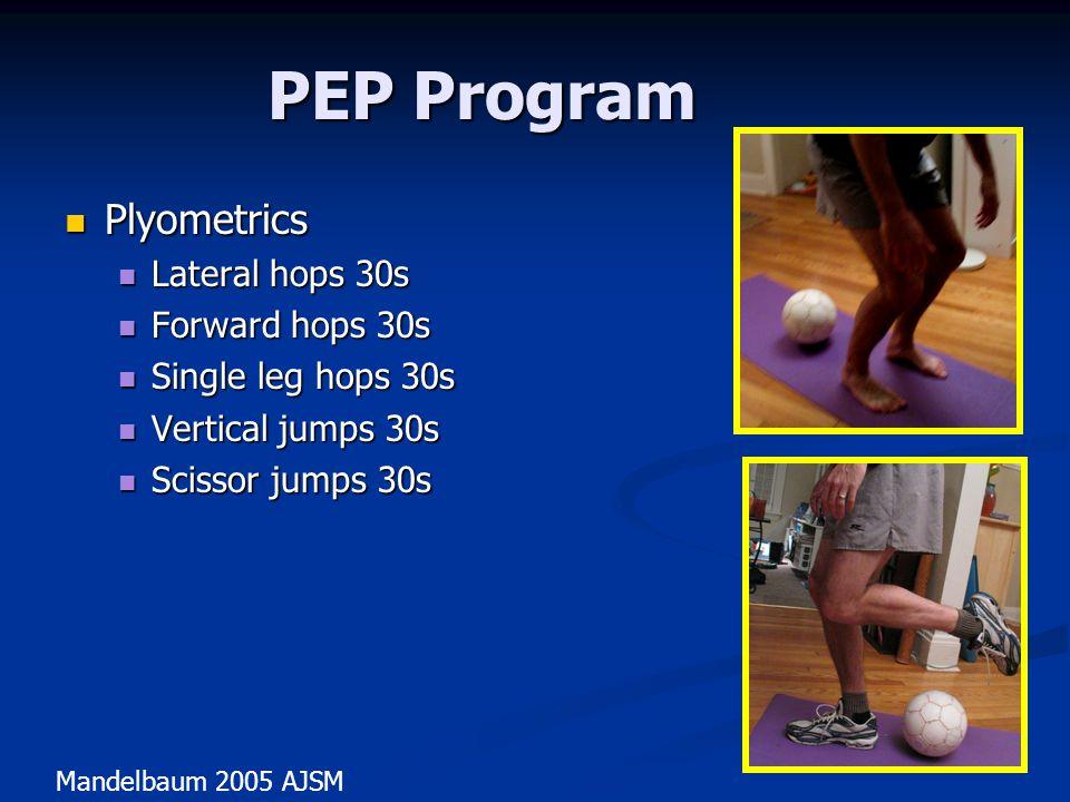 PEP Program Plyometrics Lateral hops 30s Forward hops 30s