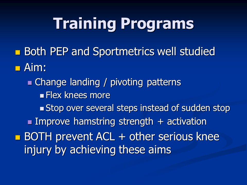 Training Programs Both PEP and Sportmetrics well studied Aim:
