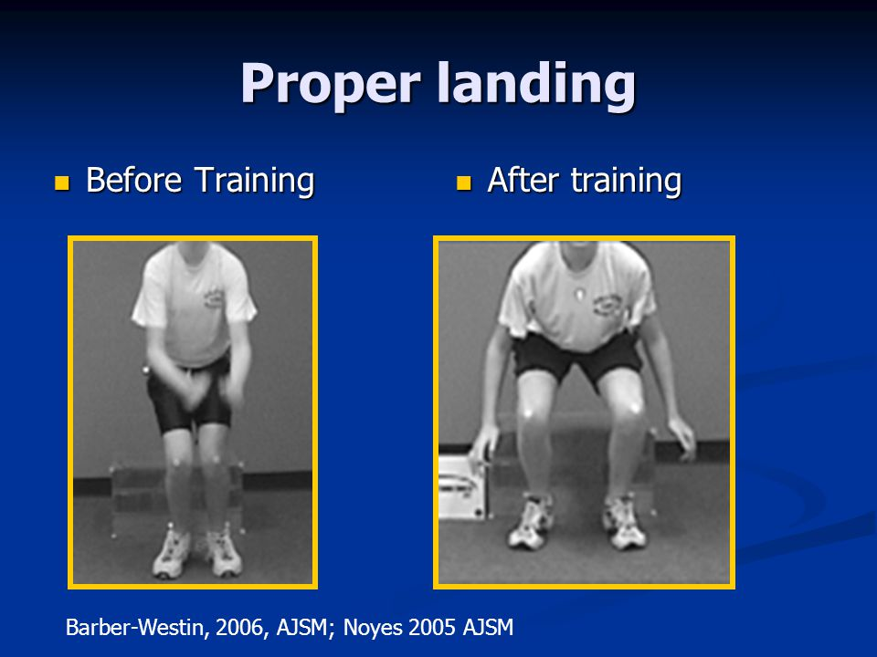 Proper landing Before Training After training