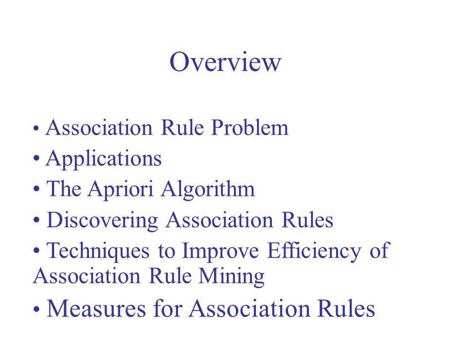 Overview Applications The Apriori Algorithm