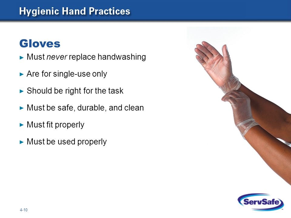Gloves Must never replace handwashing Are for single-use only