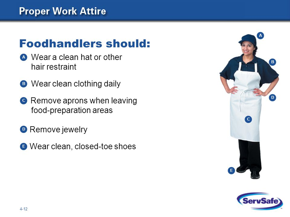 Foodhandlers should: Wear a clean hat or other hair restraint