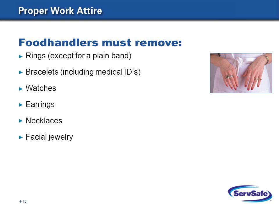 Foodhandlers must remove: