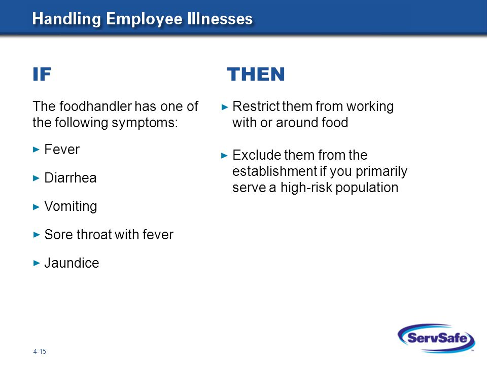 IF THEN The foodhandler has one of the following symptoms: