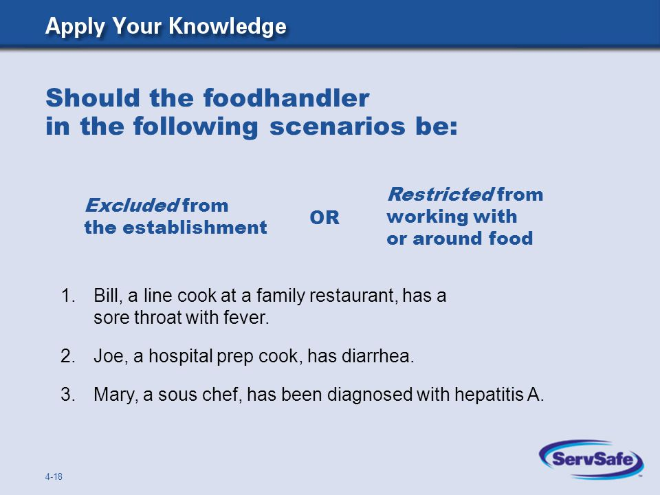 Should the foodhandler in the following scenarios be: