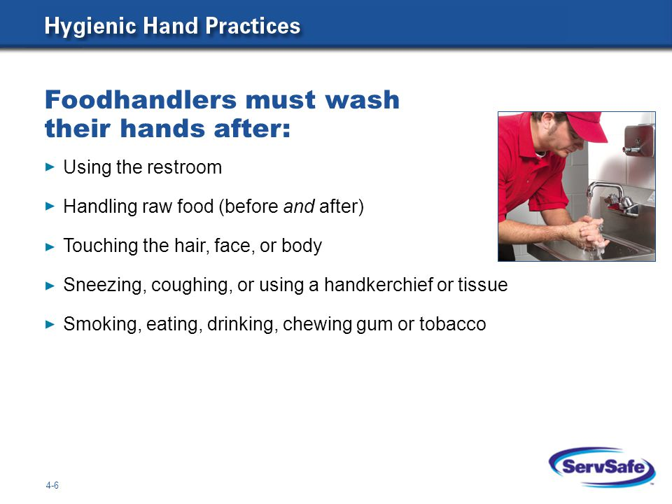 Foodhandlers must wash their hands after: