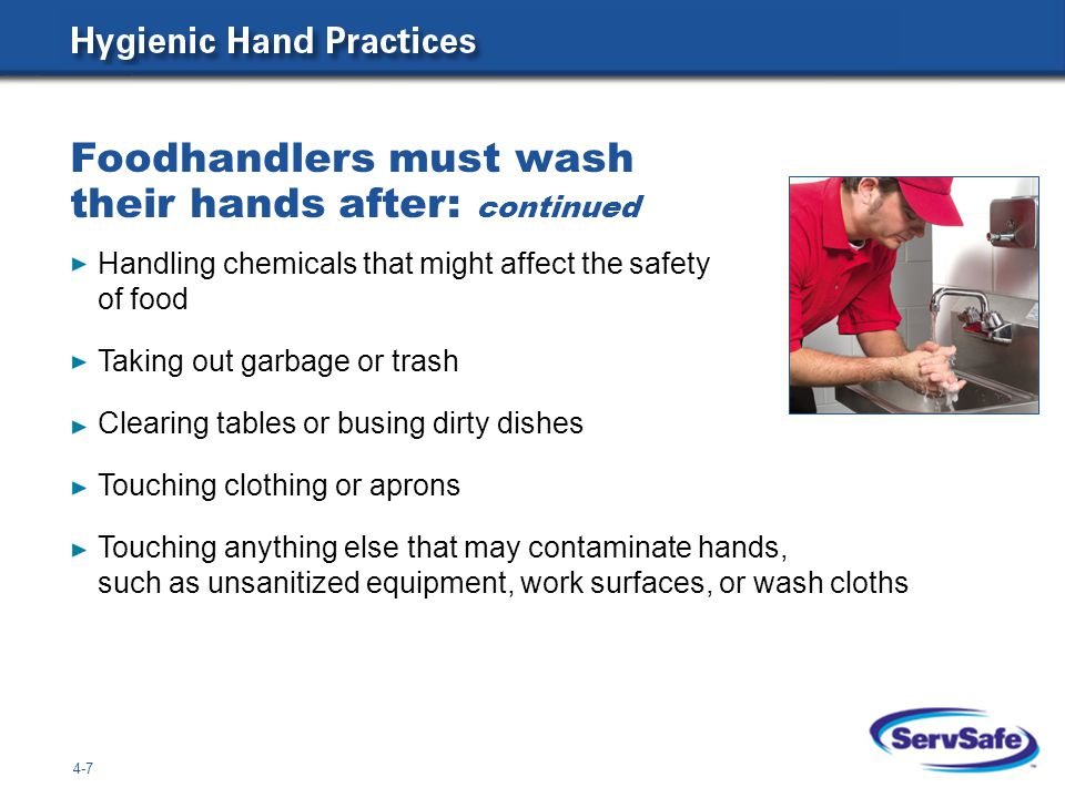Foodhandlers must wash their hands after: continued