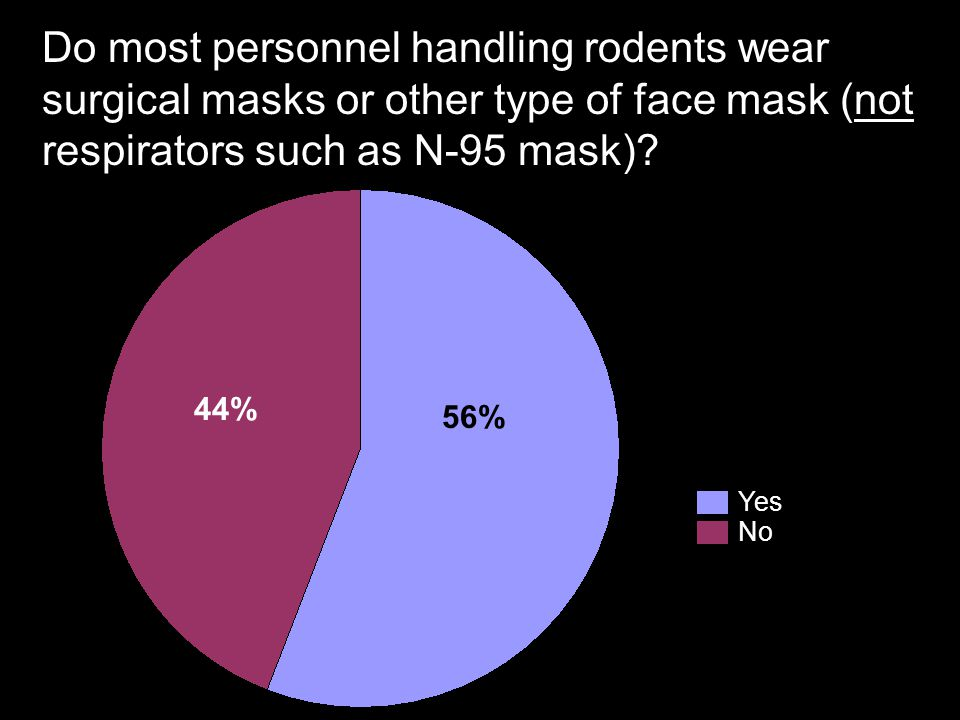 Do most personnel handling rodents wear surgical masks or other type of face mask (not respirators such as N-95 mask)