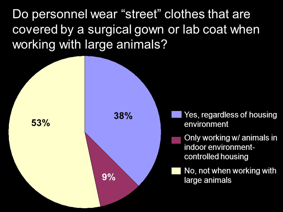 Do personnel wear street clothes that are covered by a surgical gown or lab coat when working with large animals