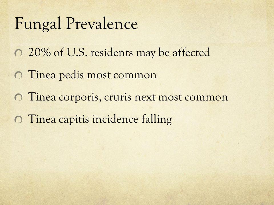 Fungal Prevalence 20% of U.S. residents may be affected