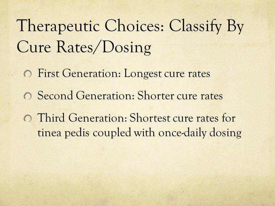 Therapeutic Choices: Classify By Cure Rates/Dosing