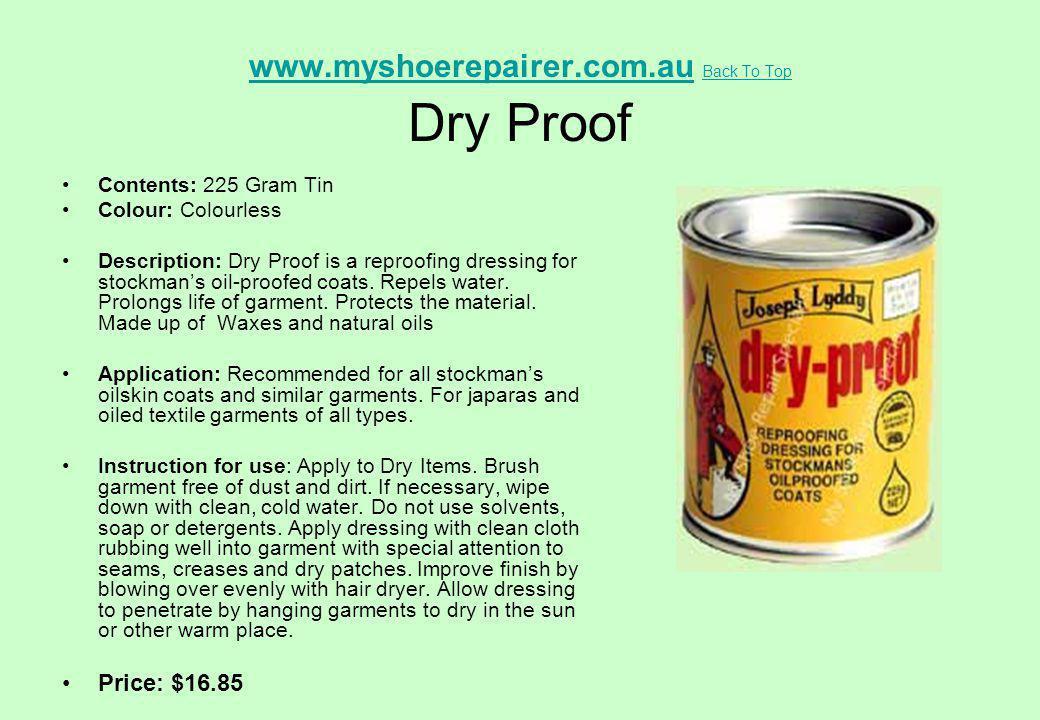 www.myshoerepairer.com.au Back To Top Dry Proof