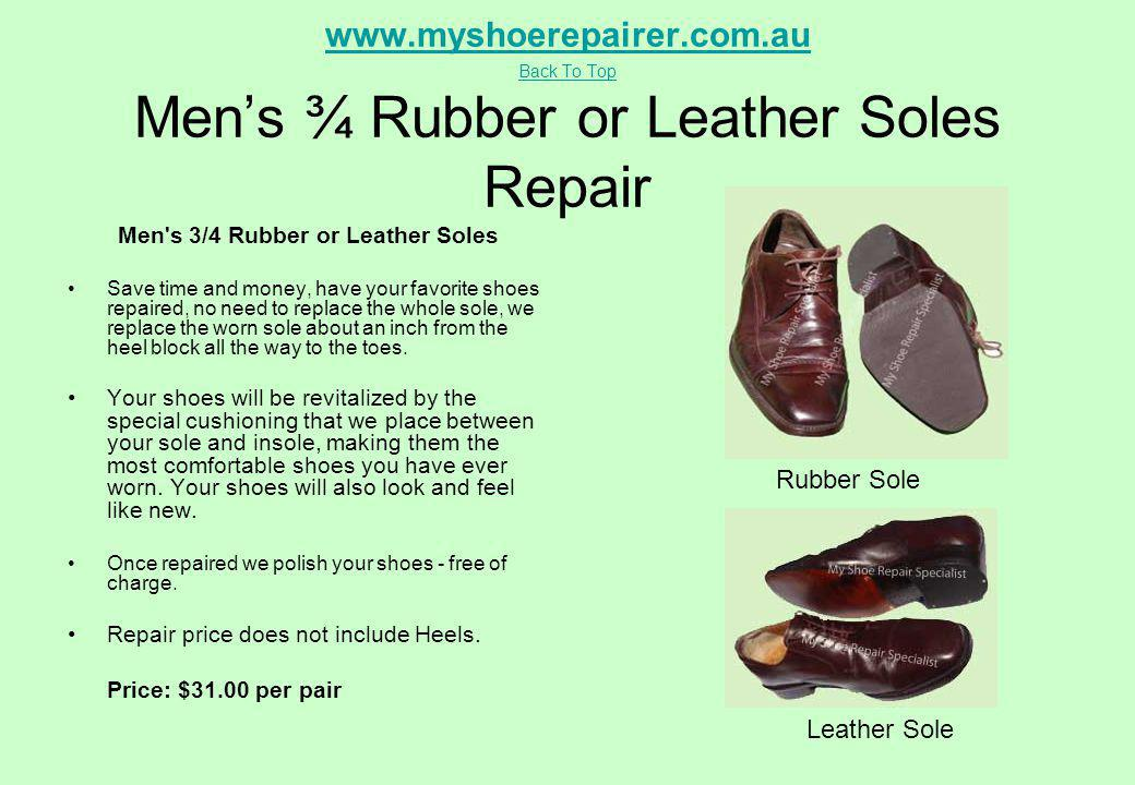 Men s 3/4 Rubber or Leather Soles