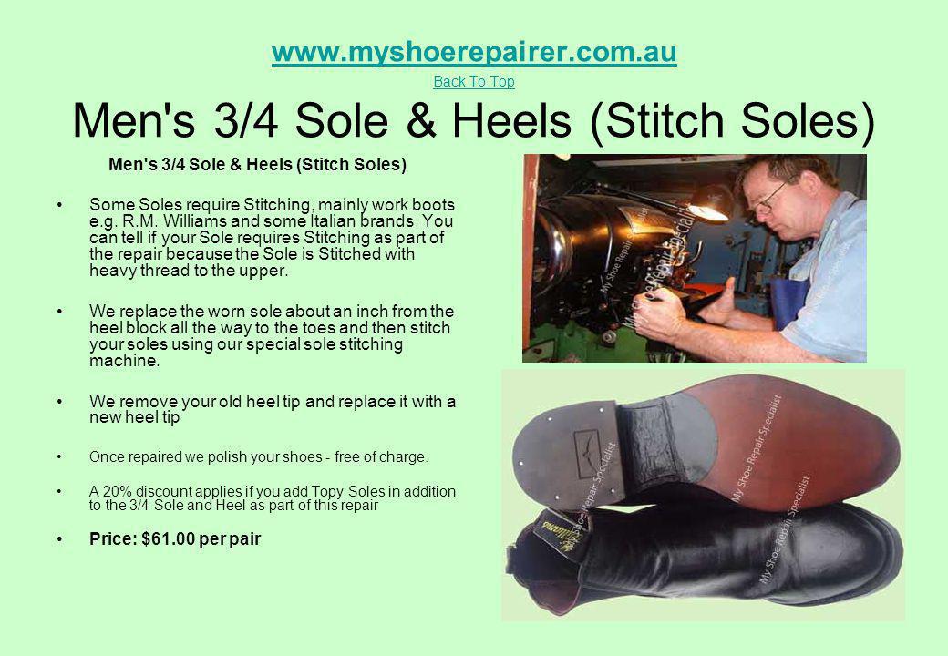 Men s 3/4 Sole & Heels (Stitch Soles)
