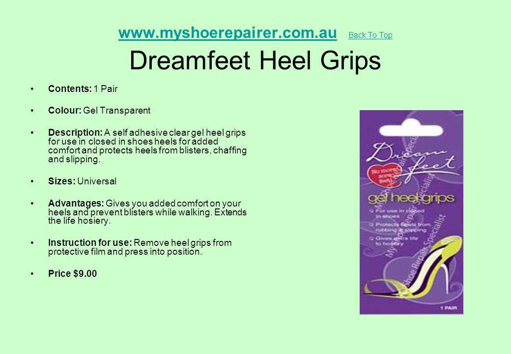www.myshoerepairer.com.au Back To Top Dreamfeet Heel Grips