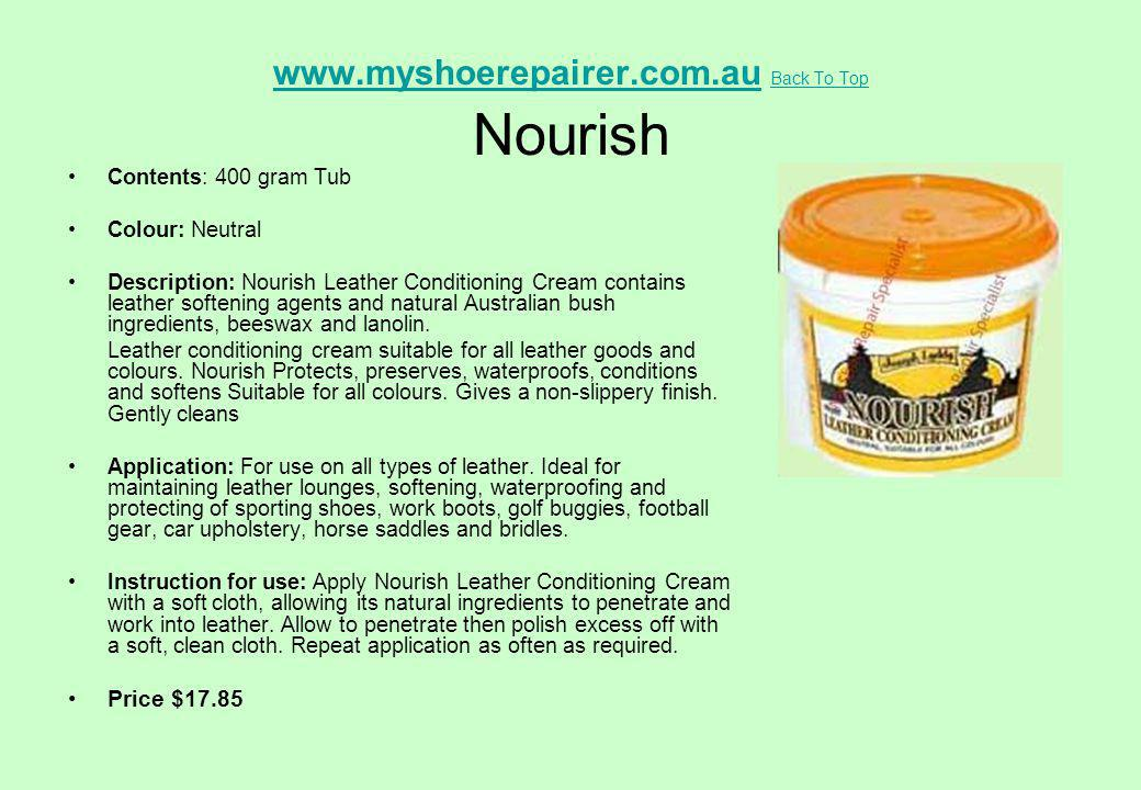 www.myshoerepairer.com.au Back To Top Nourish