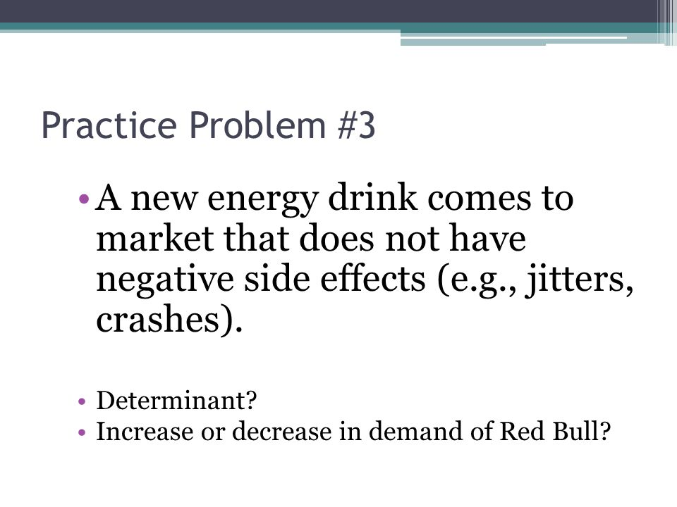 Practice Problem #3 A new energy drink comes to market that does not have negative side effects (e.g., jitters, crashes).
