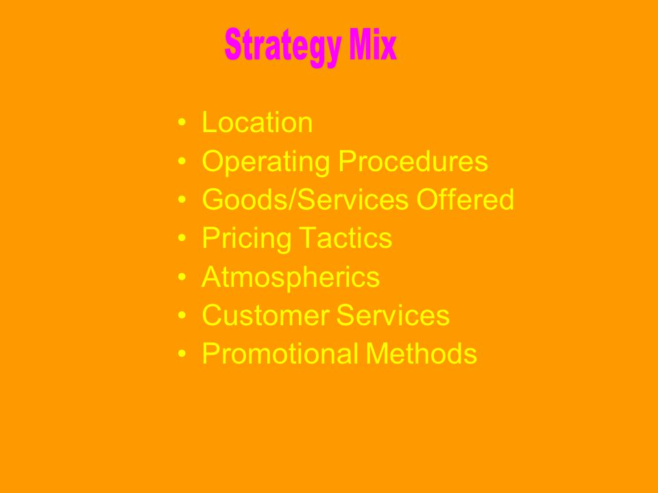 Strategy Mix Location. Operating Procedures. Goods/Services Offered. Pricing Tactics. Atmospherics.