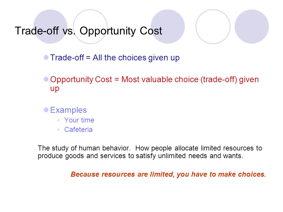 Trade-off vs. Opportunity Cost