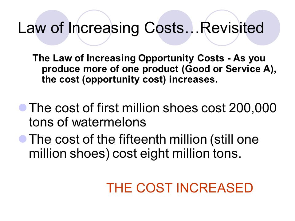 Law of Increasing Costs…Revisited
